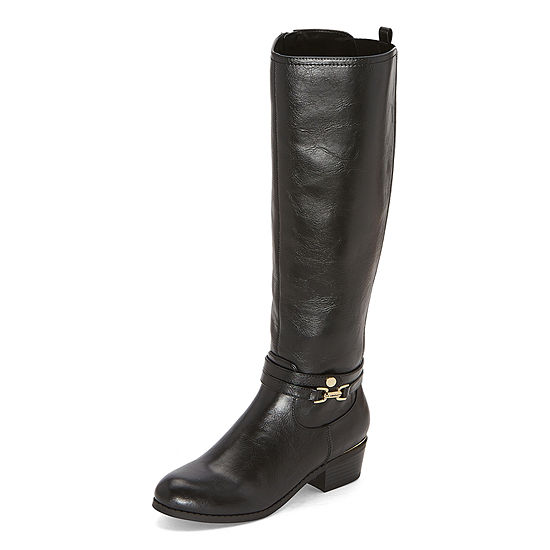 Liz Claiborne Womens Townsend Riding Stacked Heel Boots