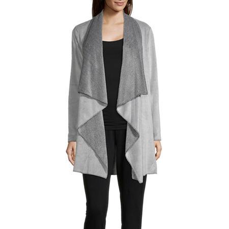 Rene Rofe Frosted Wrap Womens Fleece Robe Long Sleeve Long Length, Small , Gray