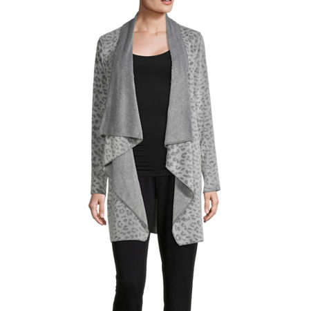 Rene Rofe Frosted Fleece Wrap Womens Fleece Robe Long Sleeve Long Length, Small , Gray