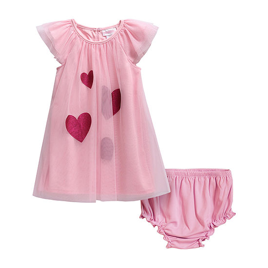 Sweetheart Rose Baby Girls 2-pc. Sleeveless Hearts A-Line Dress
