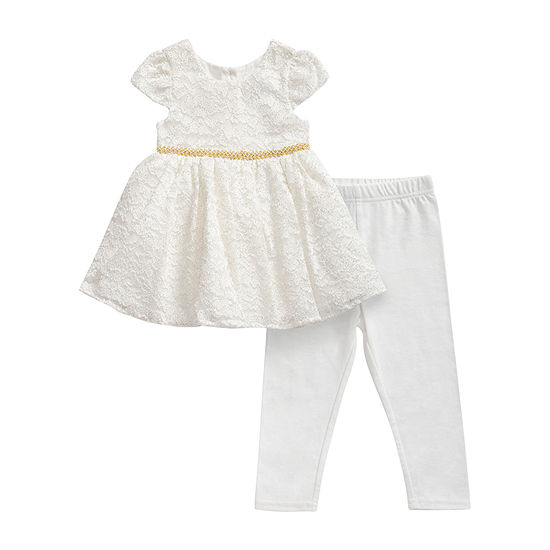 Sweetheart Rose Baby Girls Short Sleeve 2-pc. Dress Set