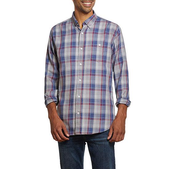 American Threads Mens Long Sleeve Plaid Button-Down Shirt