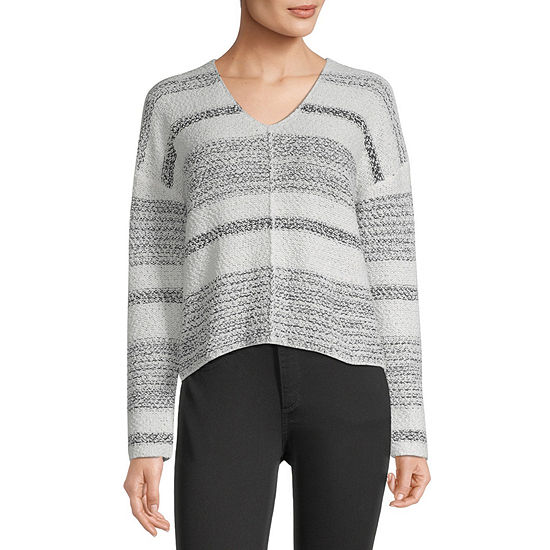 Rewind-Juniors Womens V Neck Long Sleeve Striped Pullover Sweater