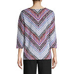 Alfred Dunner Fall Classics Tee Womens Split Crew Neck 3/4 Sleeve T-Shirt