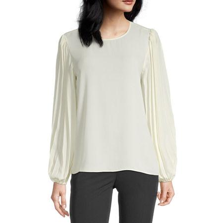 Worthington Womens Pleated Sleeve Popover, Petite Medium , White