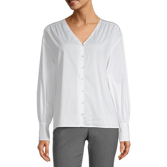 Worthington Womens Long Sleeve Regular Fit Button-Down Shirt