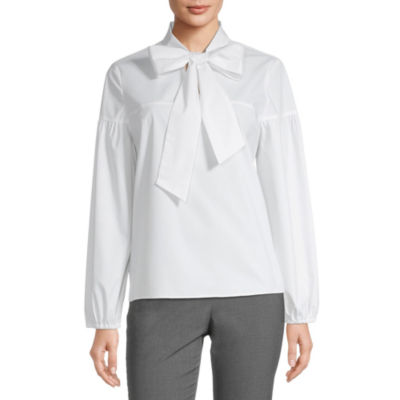 Worthington Womens High Neck Long Sleeve Poplin Blouse