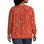 St. John's Bay-Plus Womens V Neck Long Sleeve Blouse