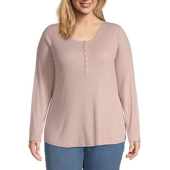 a.n.a-Plus Long Sleeve Womens Henley Shirt