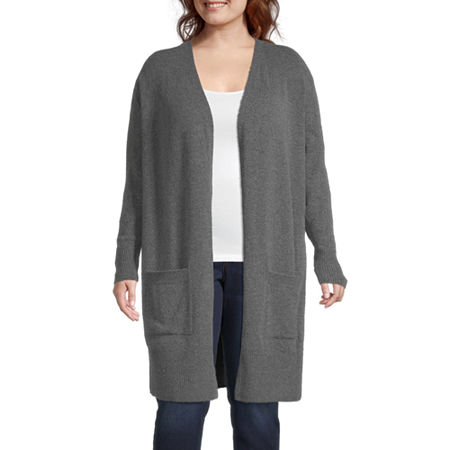 Plus Womens Long Sleeve Open Front Cardigan, 1x , Gray