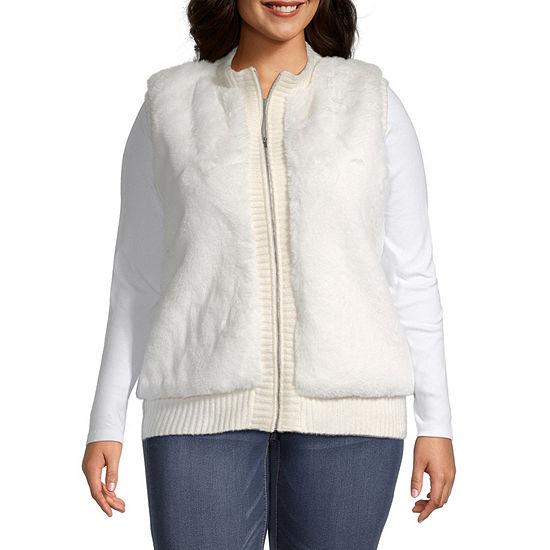 Liz Claiborne Womens Sleeveless Fur Vest - Plus