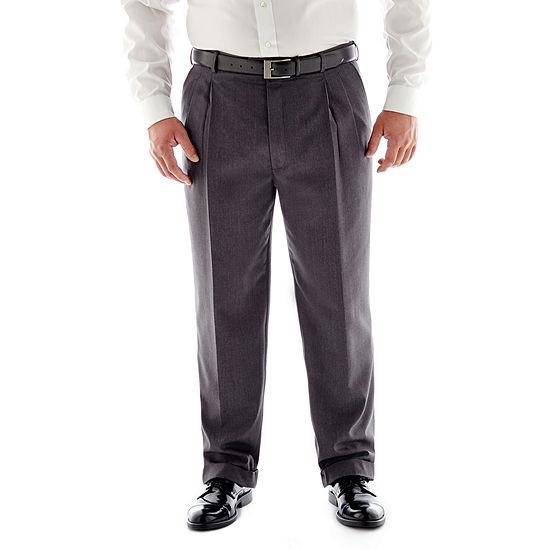 Stafford® Travel Medium Blue Pleated Suit Pants - Big & Tall Fit