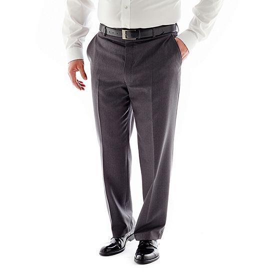 Stafford® Travel Medium Blue Flat-Front Suit Pants–Big & Tall
