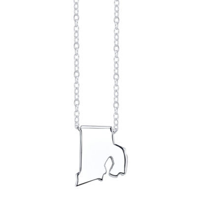 Footnotes® Sterling Silver Rhode Island State Necklace