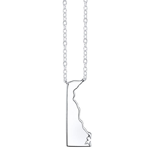 Footnotes® Sterling Silver Delaware State Necklace