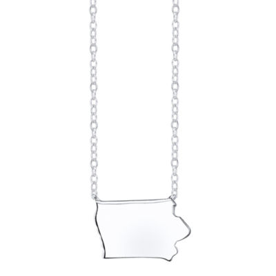 Footnotes® Sterling Silver Iowa State Necklace