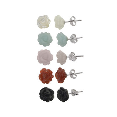 Multi-Gemstone Flower 5-pr. Stud Earring Set