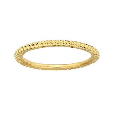 Personally Stackable 18K Yellow Gold Over Sterling Silver 1.5mm Twisted Ring