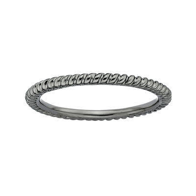 Personally Stackable Black Sterling Silver Stackable 1.5mm Twisted Ring