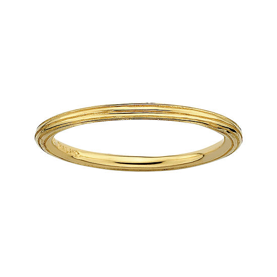 Personally Stackable 18K Yellow Gold Over Sterling Silver Stackable 1.5mm Step-D