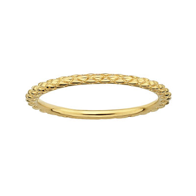 Personally Stackable 18K Yellow Gold Over Sterling Silver 1.5mm Criss-Cross Ring