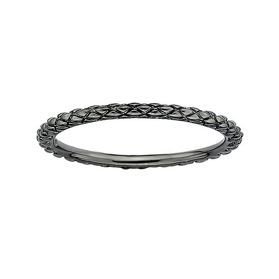 Personally Stackable Black Sterling Silver Stackable 1.5mm Criss-Cross Ring