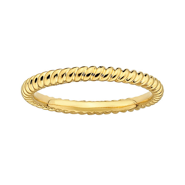 Personally Stackable 18K Yellow Gold Over Sterling Silver 3.5mm Twisted Ring