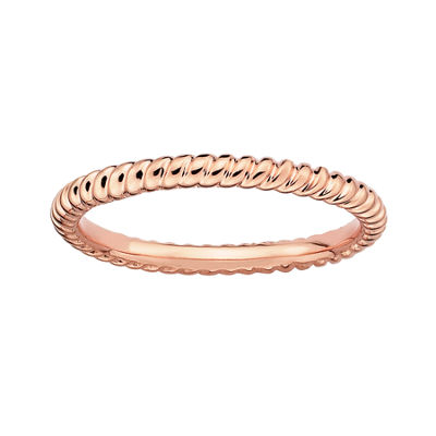 Personally Stackable 18K Rose Gold Over Sterling Silver 3.5mm Twisted Ring