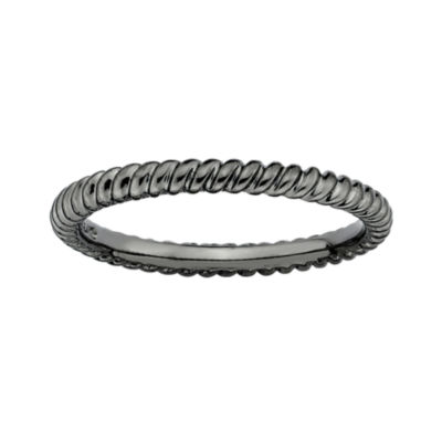 Personally Stackable Black Sterling Silver Stackable 3.5mm Twisted Ring