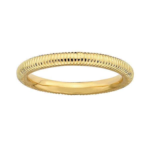 Personally Stackable 18K Yellow Gold Over Sterling Silver 3.5mm Ribbed Ring