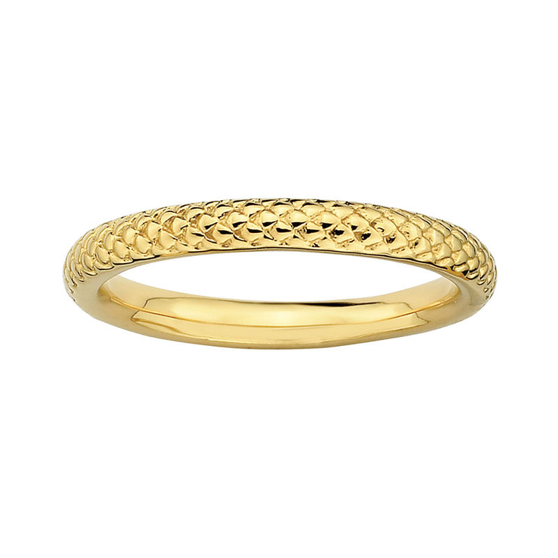 image of Personally Stackable 18K Yellow Gold Over Sterling Silver 3.5mm Cable Ring-pp5004530087