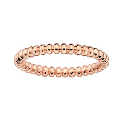 Personally Stackable 18K Rose Gold Over Sterling Silver 3.5mm Beaded Ring