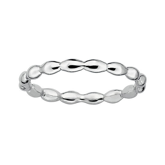 Personally Stackable Sterling Silver Stackable 15mm Rice Bead Ring