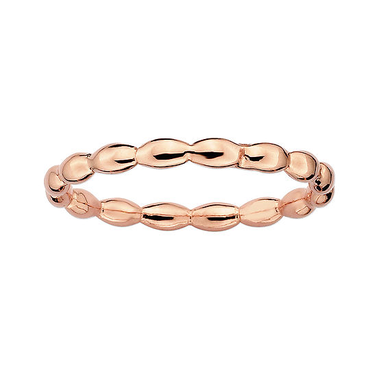 Personally Stackable 18K Rose Gold Over Sterling Silver 1.5mm Rice Bead Ring