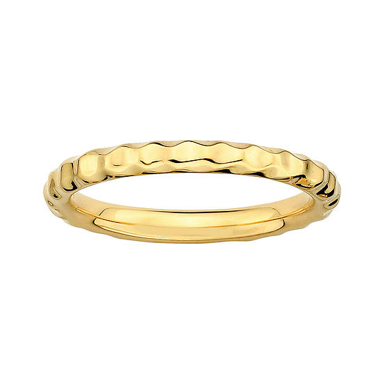 Personally Stackable 18k Yellow Gold Over Sterling Silver 35mm Hammered Ring
