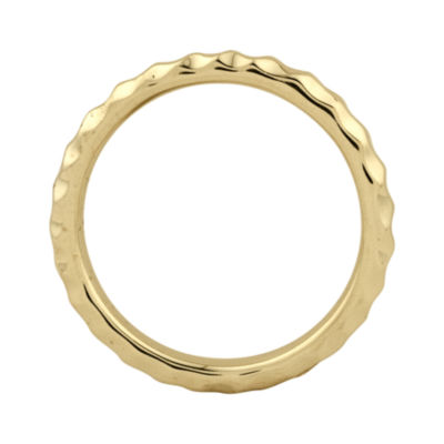 Personally Stackable 18K Yellow Gold Over Sterling Silver 3.5mm Hammered Ring.
