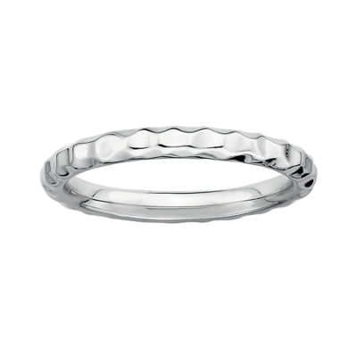 Personally Stackable Sterling Silver Stackable 3.5mm Hammered Ring