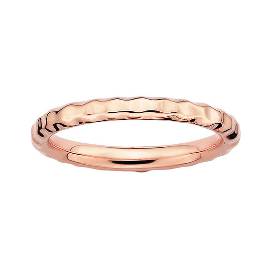 Personally Stackable 18k Rose Gold Over Sterling Silver 35mm Hammered Ring