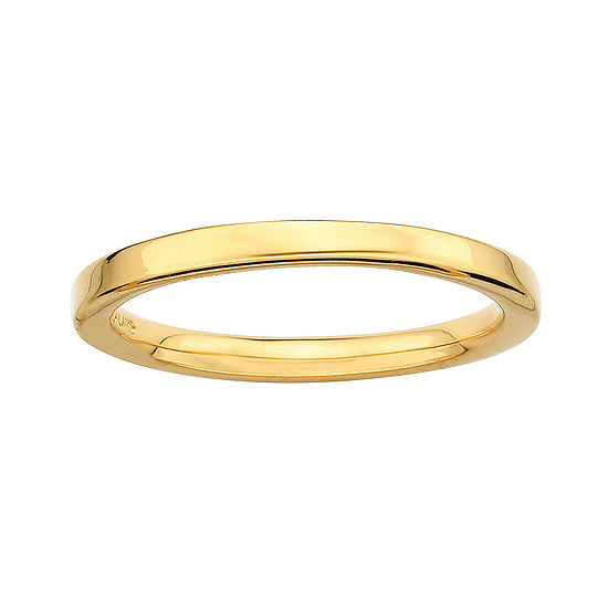 Personally Stackable 18K Yellow Gold Over Sterling Silver 3.5mm Square-Edge Ring