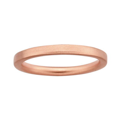 Personally Stackable 18K Rose Gold Over Sterling Silver 3.5mm Satin Ring
