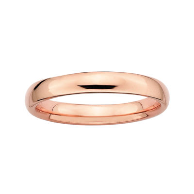 Personally Stackable 18K Rose Gold Over Sterling Silver 3.5mm Rounded Ring