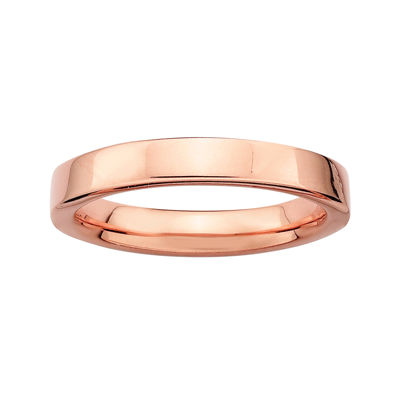 Personally Stackable 18K Rose Gold Over Sterling Silver 1.5mm Square-Edge Ring