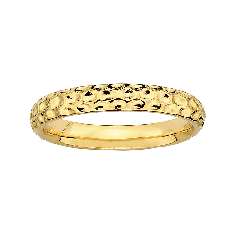 image of Personally Stackable 18K Yellow Gold Over Sterling Silver 3.5mm Pebbled Ring-pp5004510187