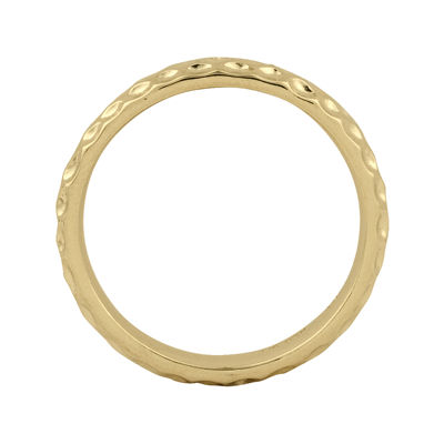 Personally Stackable 18K Yellow Gold Over Sterling Silver 3.5mm Pebbled Ring