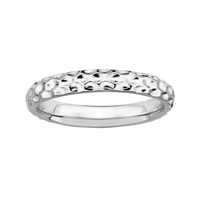 Personally Stackable Sterling Silver Stackable 3.5mm Pebbled Ring