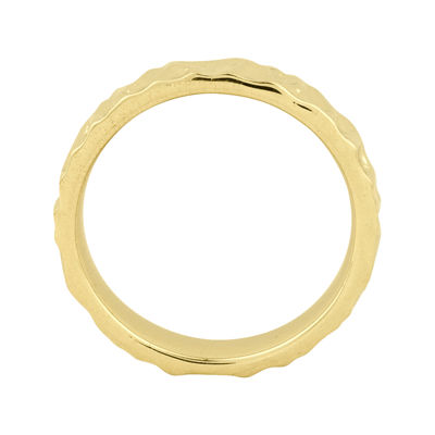 Personally Stackable 18K Yellow Gold Over Sterling Silver 3.5mm Hammered Ring