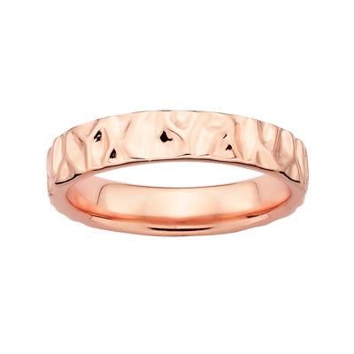 Personally Stackable 18K Rose Gold Over Sterling Silver 3.5mm Hammered Ring
