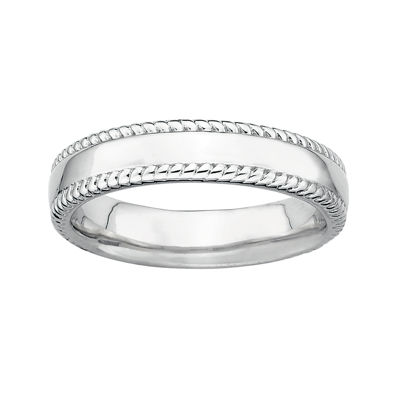Personally Stackable Sterling Silver Stackable 1.5mm Milgrain-Edge Band Ring