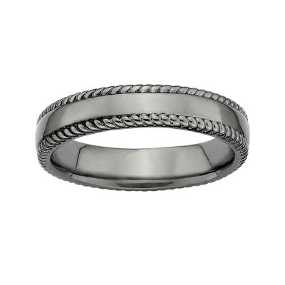 Personally Stackable Black Sterling Silver 1.5mm Milgrain-Edge Band Ring