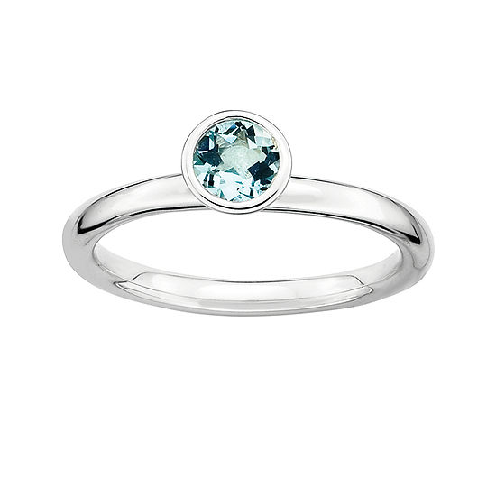 Personally Stackable Genuine Aquamarine Sterling Silver Stackable Ring